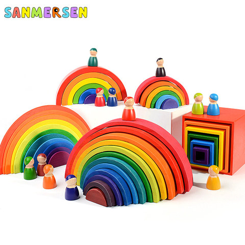 brinquedos bebe 12 pcs blocos arco iris