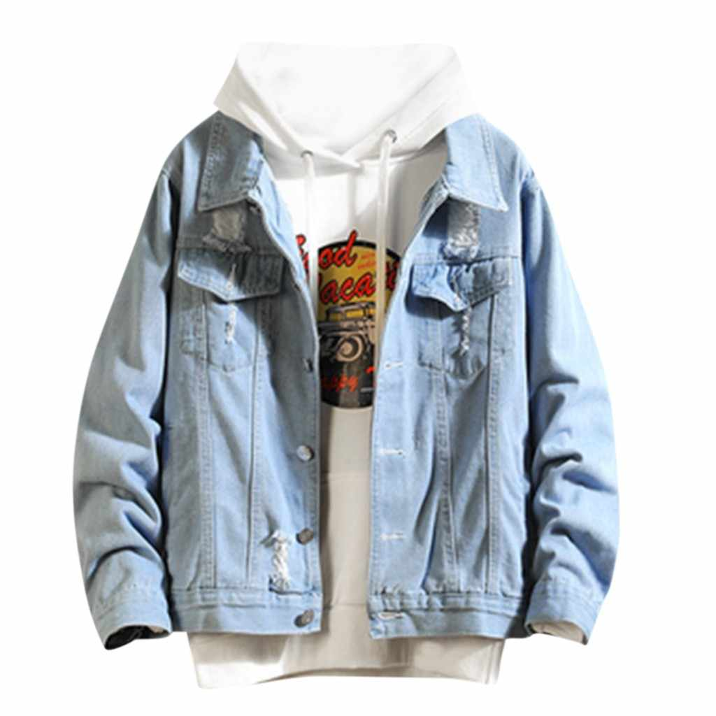 Feitong Mannen Winter Jas 2019 Herfst Winter Casual Lange Mouwen Denim Jacket Mode Cool Gat Jassen Jaquetas Masculina