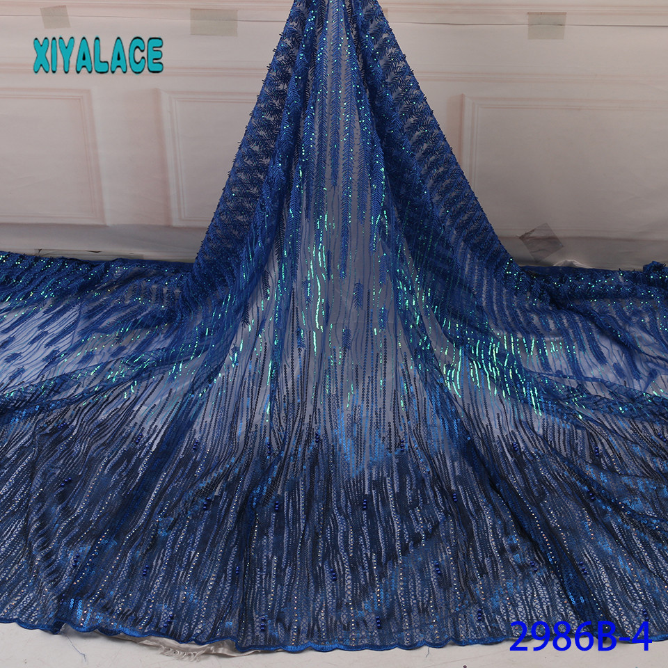 Nigerian Sequins Lace Fabric 2019 High Quality African 3D Net Lace Fabric Wedding French Tulle Lace Material For Dress YA2986B-4