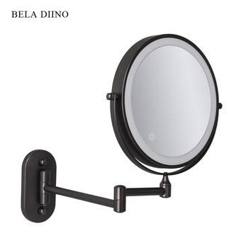 8 #8222 dwustronnie 10x powiększające Led lustro do makijażu z oświetleniem kosmetyki golenie składane łazienka okrągłe lustro ścienne z podświetleniem czarny tanie i dobre opinie Wyposażone CN (pochodzenie) metal Lusterko do makijażu shaving mirror Mirror in the bathroom PODŚWIETLANE mirror wall mirror increase 10x led