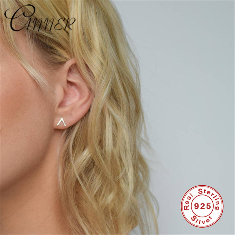 Minimalist 925 Sterling Silver Stud Earrings Tiny V Shape Stud Earrings for Girls