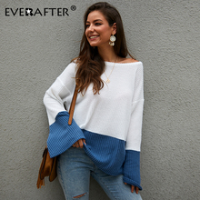 EVERAFTER Casual patchwork knitted sweater women O-neck flare sleeve loose elegant autumn white female jumpers 2019 top pullover