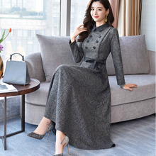 2019 new autumn and winter office lady thick female women girls brand long sleeve dress clothing