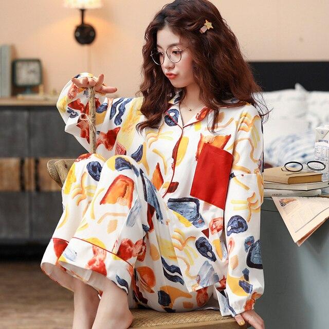 BZEL yeni pamuk Pijama seti kadın kaliteli Pijama renkli ev giyim Pijama gevşek giyim Pijama ev takım elbise artı boyutu M XXXL
