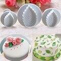 Новая мода 3 шт./компл. форма в форме листьев розы, помадка, сахарный торт, ремесленные плунжеры, Diy формы, инструменты для украшения Рождестве...