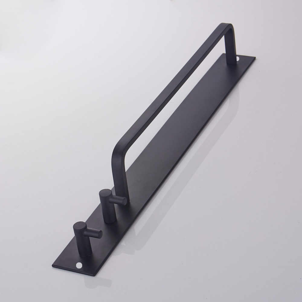 Towel Bar Black Wall Mounted Bathroom Rack Aluminium Holder With Double Robe Hooks Hardware Pendant