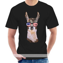 2021 New Men Fashion Summer Loose Clothes Merica Llama Patriotic Usa July 4 Sunglasses Funny Unisex Graphic Tees Shirt @003669