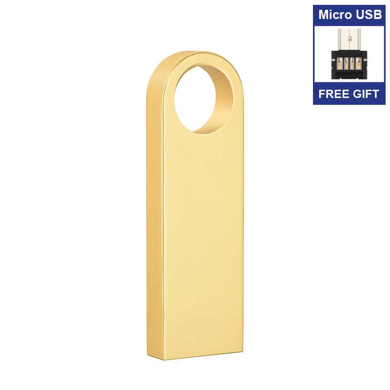 Imperméable à l'eau métal argent clé USB lecteur de stylo 128 mo 64GB 32GB 16GB 8GB clé USB disque 2.0 cadeau Micro USB adaptateur