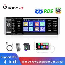Podofo 1Din Auto Radios MP5 Player 4 Zoll Touch Screen AI Stimme Assistent 4168 Mit Platz Fernbedienung Mikrofon RDS stereo