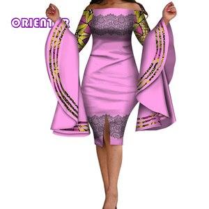Женское платье в африканском стиле, сексуальное облегающее платье с вырезом лодочкой и большим Расклешенным рукавом, вечерние женские плат...