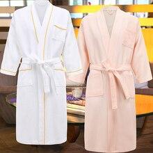 100% Cotton Hotel Long Kimono Waffle Bath Robe for Women Plus Size Summer Sweat Towel Bathrobe Femme Dressing Gown Men Sleepwear