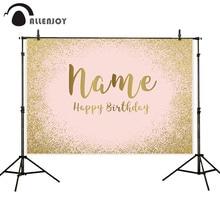 Allenjoy Fondo De Cumpleaños rosa dorado brillo retrato fiesta arena Boda Baby Shower Banner foto telón de fondo Photocall Photophone