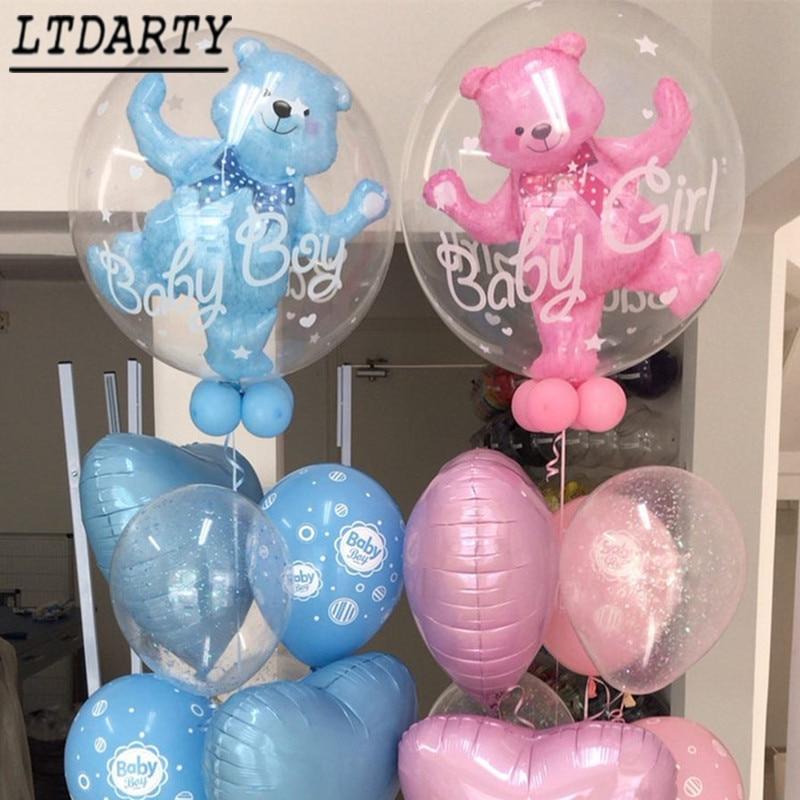 24 polegada bebê menino menina azul rosa bolha urso folha de alumínio balão aniversário 1 ano de idade bebê banho decorações crianças brinquedos bola
