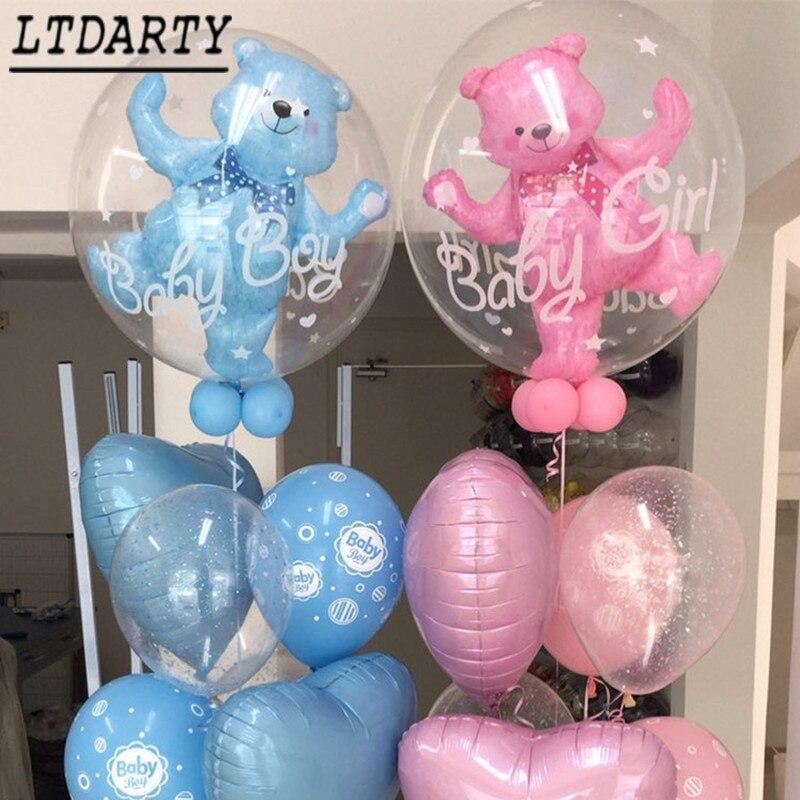 24 дюйма для Для мальчиков и девочек голубого и розового цвета пузырь медведя алюминиевой фольги Воздушные шары на день рождения для детей в возрасте 1 ванны младенца украшения детские игрушки мяч