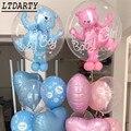 24 дюйма для Для мальчиков и девочек голубого и розового цвета пузырь медведя алюминиевой фольги Воздушные шары на день рождения для детей в ...