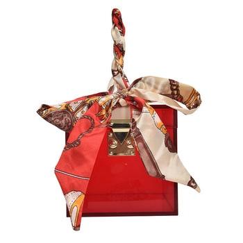 New Transparent Acrylic Box Female Bag Summer Vacation Beach Jelly Square Silk Scarf Decoration Fashion Handbag
