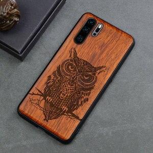 Image 3 - منحوتة الجمجمة الفيل الخشب الهاتف حافظة لهاتف Huawei P30 برو P30 لايت هواوي P20 P20 برو P20 لايت السيليكون خشبية حالة غطاء