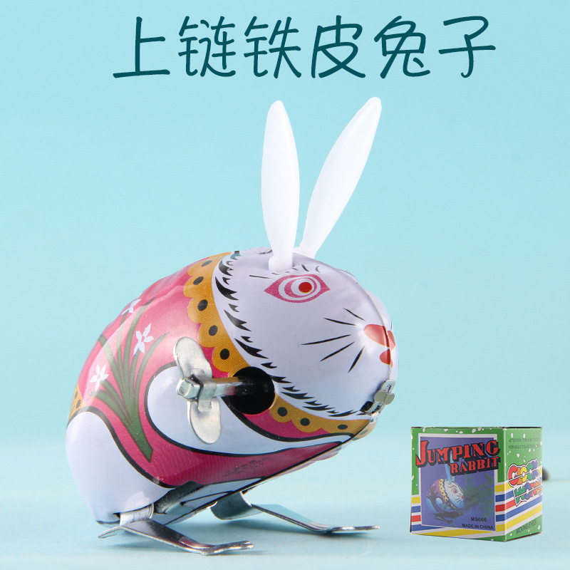 Classic Hot Selling Yiwu Nostalgic Winding Wind-up Toy Algam Rabbit Stall Toy CHILDREN'S Toy