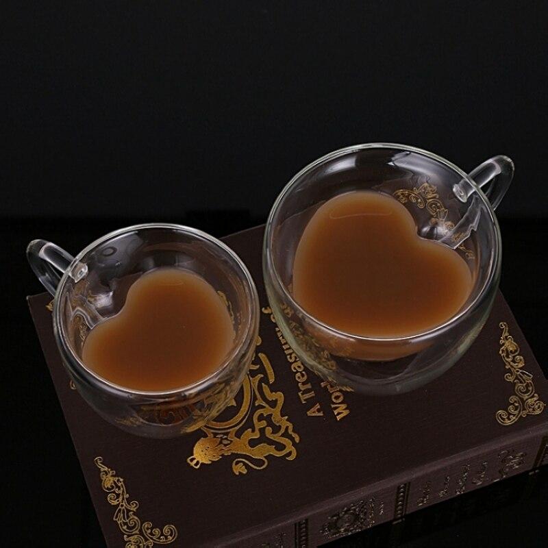 Love Heart Double Bottom Glasses Creative Coffee Glass Mugs Elegant Milk Flower Tea Juice Glass Cup Wine Glasses as Lover Gift