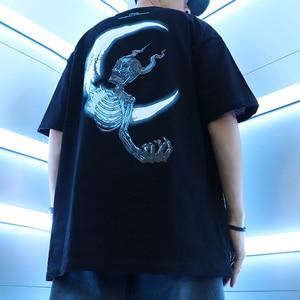 Image 5 - Футболка Хип хоп с Молниеносным черепом и луной, уличная футболка большого размера, свободные футболки в стиле хип хоп, летние хлопковые футболки с коротким рукавом 2020