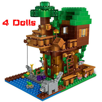 The Tree House Small Building Blocks Sets With Steve Action Figures Compatible My World MinecraftINGlys Sets Toys For Children the tree house small building blocks sets with steve action figures compatible my world bricks set gifts toys