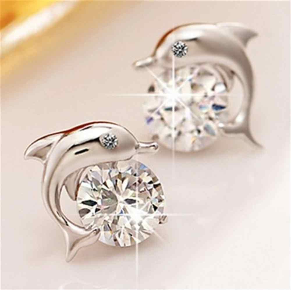 Amor dorado de Diamante Estilo Cristal Pendientes Tachuelas para Mujeres Niñas Niños Cristal.