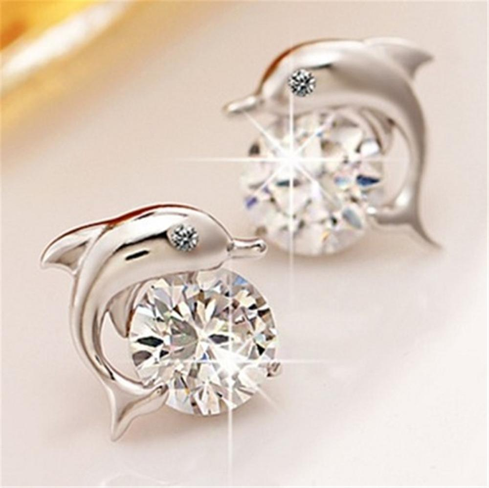 Fashion Romantic Dolphin Love Stud Earrings For Women High Quality Jewelry Silver Plated Round Cut For Women Jewelry Girl Gift