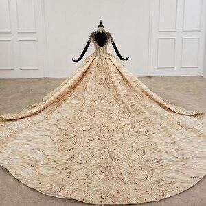 Image 2 - HTL1257 2020 ארוך שמלות הערב גבוה צוואר קצר שרוול ואגלי טאסל applique דובאי ערב שמלות платье на выпускной חדש