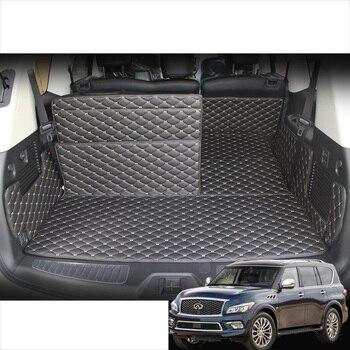 цена на lsrtw2017 leather car trunk mat cargo liner for infiniti qx80 qx56 2012 2013 2014 2015 2016 2017 2018 2019 interior accessories