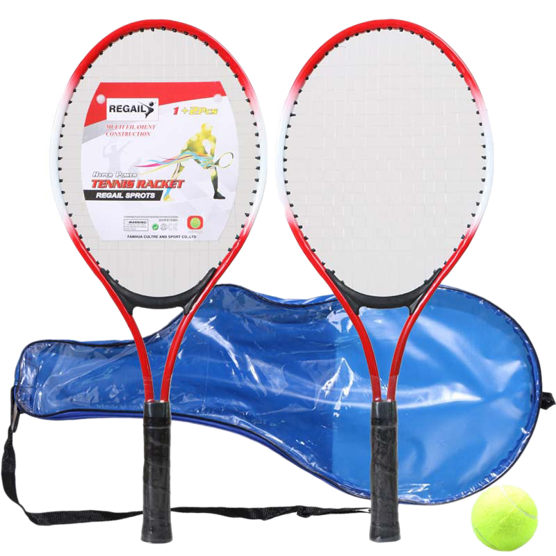 Regail Set Of 2 Teenager'S Tennis Racket For Training Tennis Ferroalloy+Nylon Mesh Tennis String With Ball (Red)