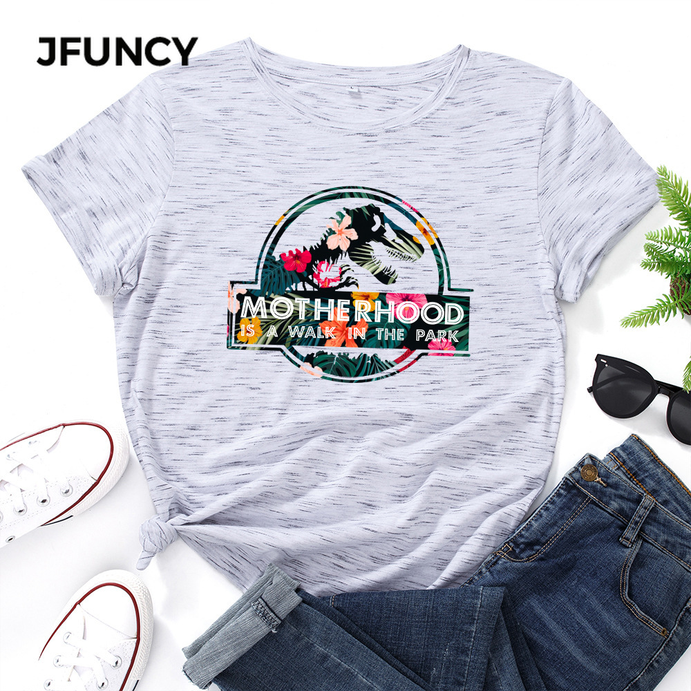 JFUNCY Casual Cotton T-shirt Women T Shirt Motherhood Letter Printed Oversized Woman Harajuku Graphic Tees Tops 5
