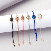 Fashion Natural Stone Druzy Drusy bracelets & bangles Resin Druse Adjustable Rope Cord Jewelry for Women Gift New 2019