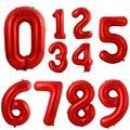 40-дюймовый светодиод красный воздушные гелиевые алюминиевые воздушные шары из фольги в виде цифр 0-9, дня рождения, свадьбы, Обручение вечерн...