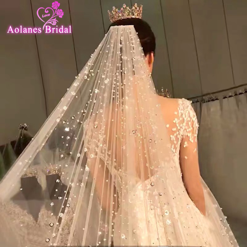 One Layer Wedding Veil 3m X3.5m Pearls Bridal Veil Long  Glude Crystals Cathedral With Metal Comb Orignal Champange Bridal Veils