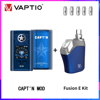 Vaptio Capt'n Mod 220W 510 Box Mod With Gift Fusion E Vape Kit Dual 18650 Battery BOX Mod Electronic Cigarette Fusion Core Head original ehpro 2 in 1 fusion 150w tc kit max 150w w fusion mod