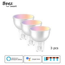 Boaz-EC  GU10 Smart Wifi Spotlight 5W RGBW Dimmable Tuya Smartlife Voice Remote Control Lamp Alexa Echo Google Home IFTTT 3 pcs
