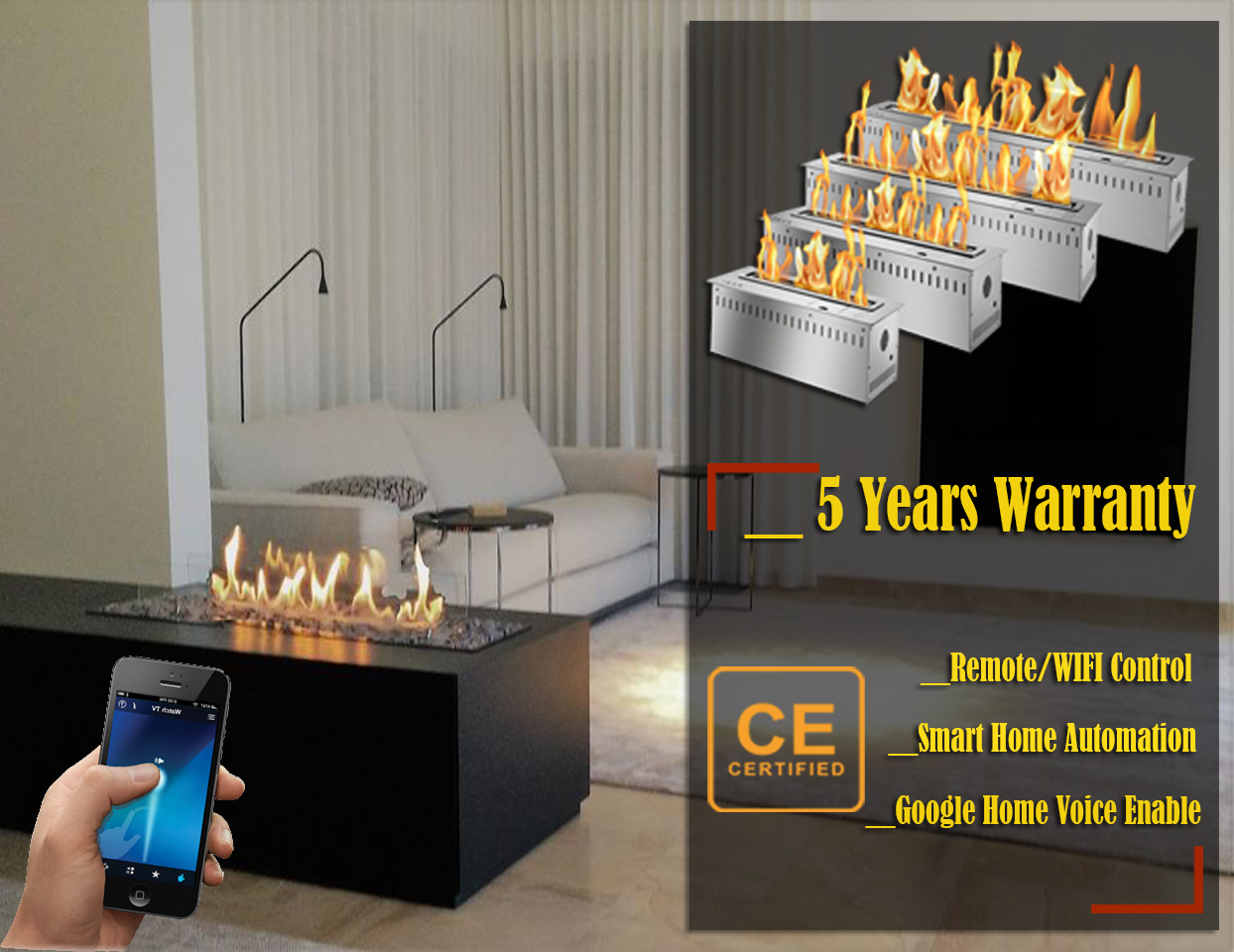 Hot Sale 60 Inches Modern Chimney Indoor Ethanol Fire With Remote
