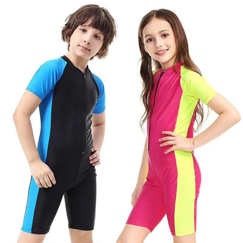 Short Sleeve Children One-piece Coat Diving Suit Surfing Diving Suit Snorkeling Suit Conservative Siamese Swimsuit Equipment