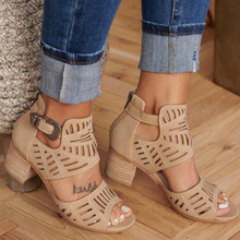 Summer Women Gladiator Sandals Peep Toe Hollow Out Square Hi