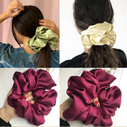Vintage Hair Band Super Over Sized Soft Hair Scrunchies Graceful Solid Satin Ponytail Elastic Hair Ties Spring Hair Accessories