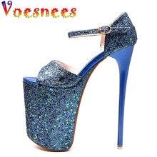 Voesnees 2021 super salto alto sandálias femininas sexy 20 cm moda stripper sapatos festa feminina plataforma lantejoulas sandálias de pano mais