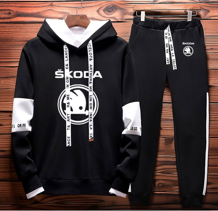 Mens Hoodies Sweatshirt Skoda Car Logo Printed Spring Autumn Hoodies+Pants 2Pcs Sporting Suit Fleece Warm Thick Sportwear