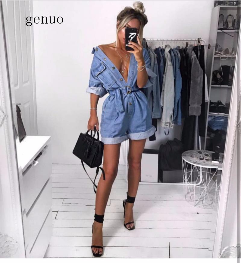 Women Casual Summer Denim Romper High Waist Jeans Overall BF Wide Leg Jumpers Lapel Pocket Shorts Jumpsuit Playsuit Bodysuits