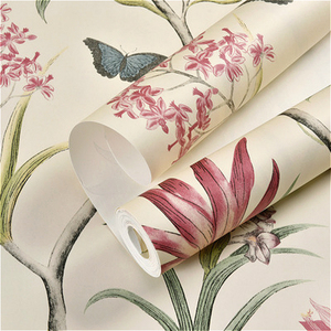 Image 5 - chinoiserie wallpaper Bedroom Wall Covering modern Vintage Pink Floral Wallpaper Blue Tropical Butterfly Birds Flower Wall Paper