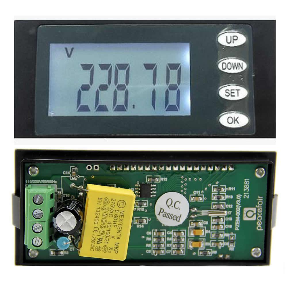 Clear 20A AC Digital Panel Power Meter Monitor KWh Time Watt Voltmeter Ammeter Voltage Meters     - title=