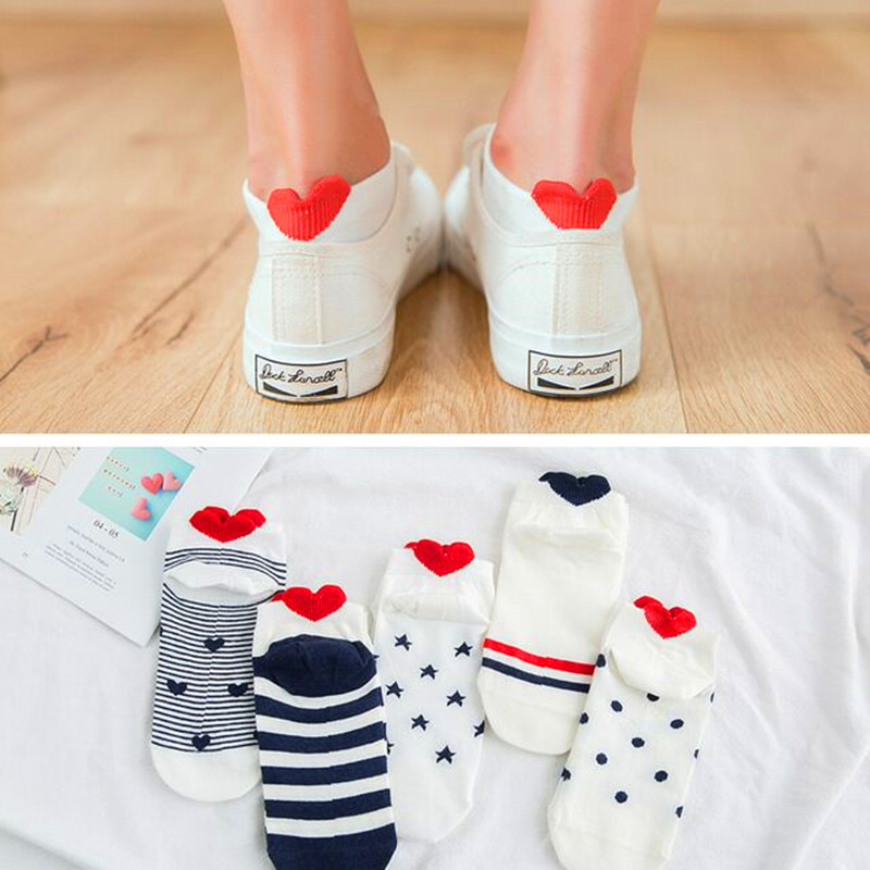 5Pairs New Arrival Women Cotton Socks Pink Cute Cat Ankle Socks Short Socks Casual Happy Animal Ear Red Heart Gril Boat Socks