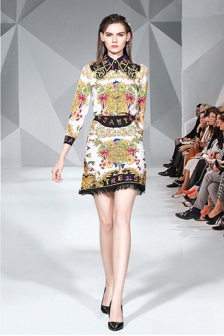 Photo Shoot 2019 Retro Palace Printed Suit Skirt Lapel Shirt + Slim Fit Tassels Hem Skirt Set