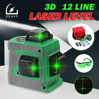 ZEAST 3D 12 Line Green Light Laser Level Auto Self Leveling 360° Rotary Measure Cross Waterproof IP54 AC 100 240V Charger