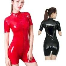 Latex Stijl Vrouwen Shiny Romper Sexy PVC Lederen Jumpsuit Rits Open Kruis Bodysuit Catsuit Meesteres Fetish Kostuum