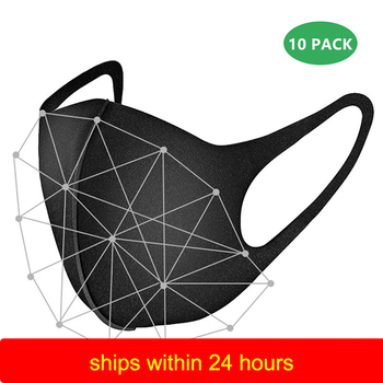 10pcs Nano-Polyurethane Black Mouth Mask Anti Dust Mask Activated Carbon Windproof Mouth-Muffle Bacteria Proof Flu Face Masks